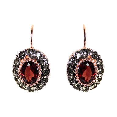 Garnet & Crystal Oval Drop Earrings