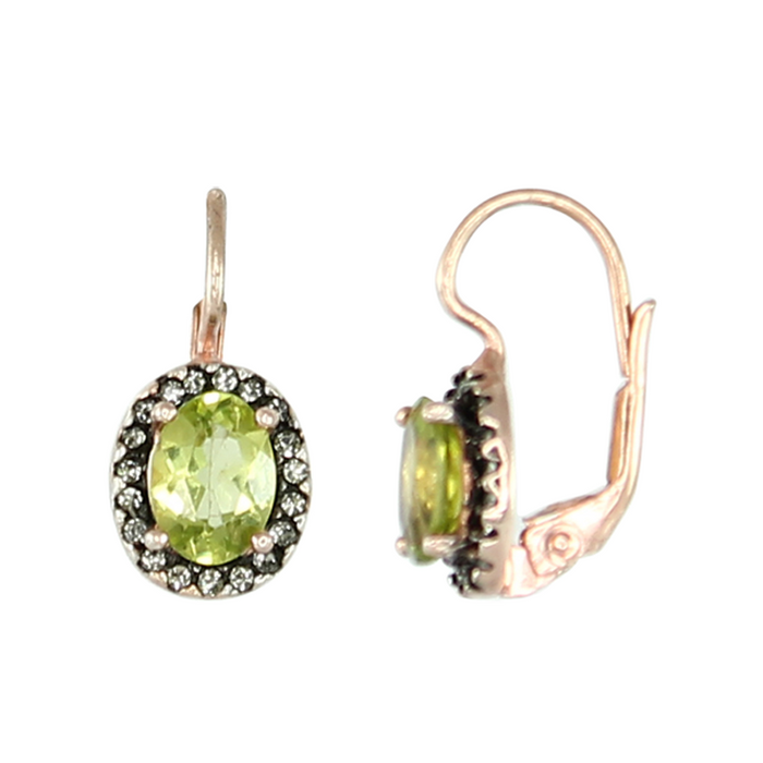 Peridot Oval Drop Earrings