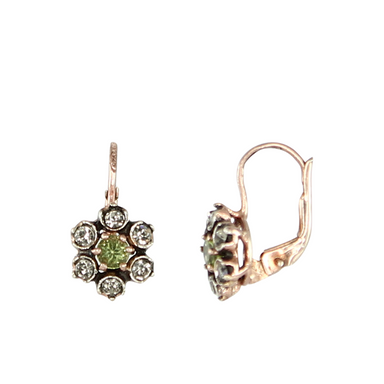 Peridot & Crystal Flower Earrings