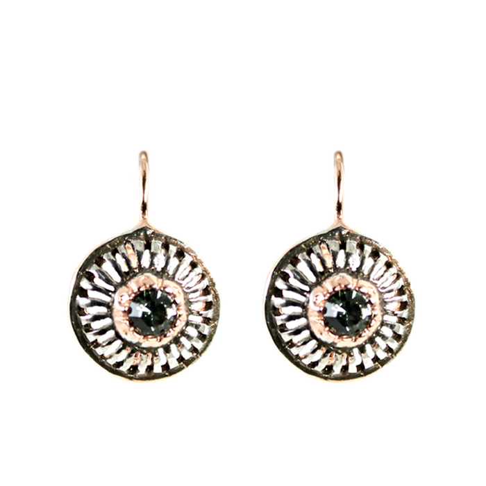 Crystal Round Cutout Earrings