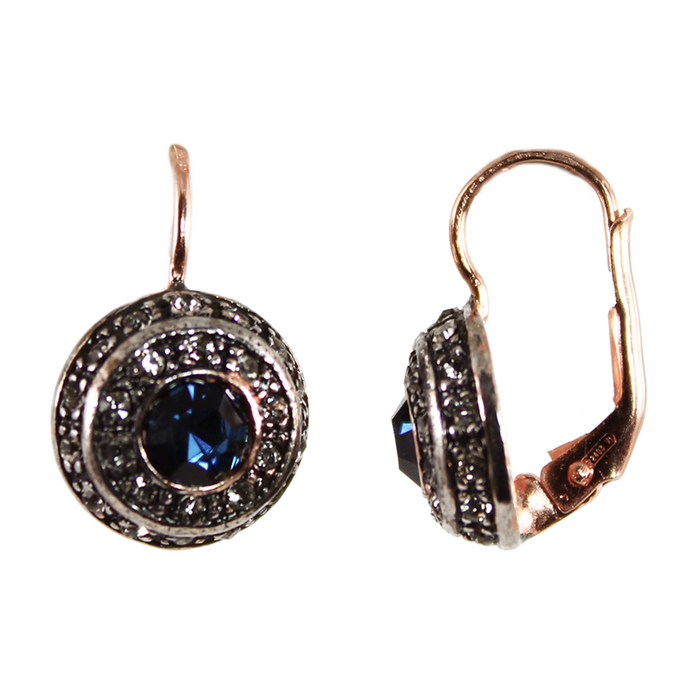 Dark Blue & Crystal Circle  Drop Earrings