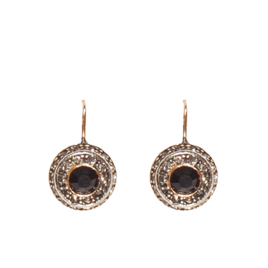 Onyx & Crystal Circle Drop Earrings