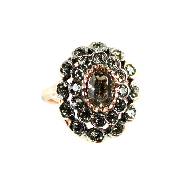 Crystal & Rose Gold Oval Ring