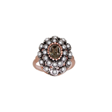 Crystal & Pearl Oval Ring