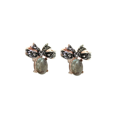 Labradorite Bow Stud Earrings