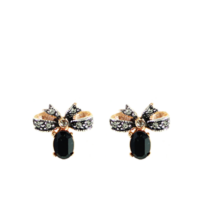 Onyx & Crystal Bow Stud Earrings