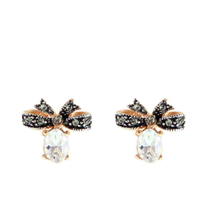 Crystal Bow Stud Earrings