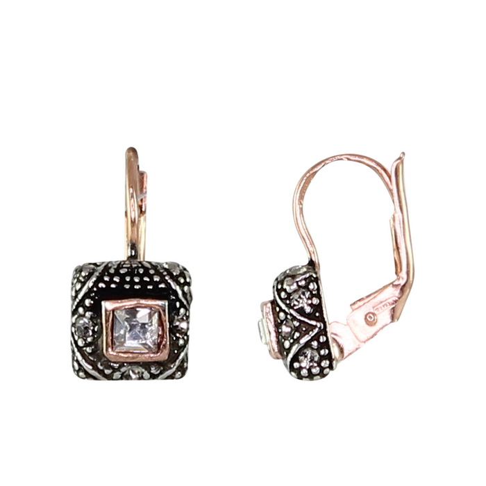 Small Square Bright Crystal Earrings
