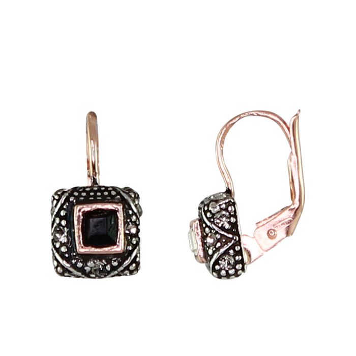 Small Square Black Crystal Earrings