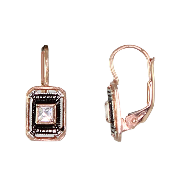 Crystal Rectangle Drop Earrings