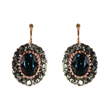 Dark Blue Crystal Oval Earrings