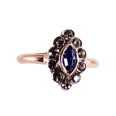 Small Dark Blue Crystal Ring