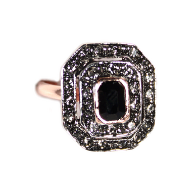 Large Black & Crystal Ring