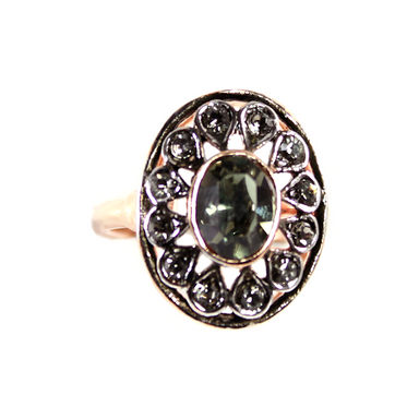 Crystal Fume Oval Ring