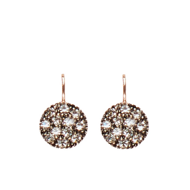 Bright Crystal Round Disc Earrings