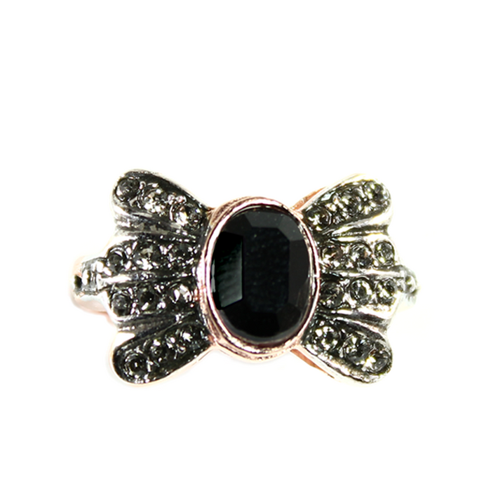 Black & Crystal Bow Ring