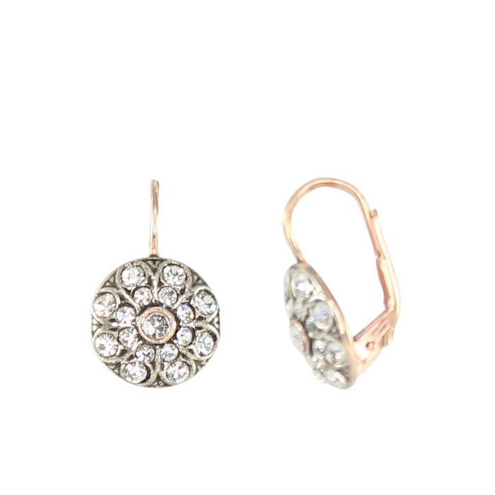 Crystal & Rose Gold Drop Earrings