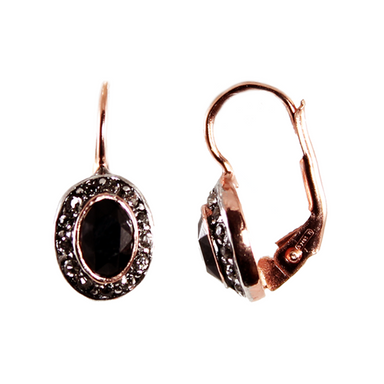 Black & Crystal Drop Earrings