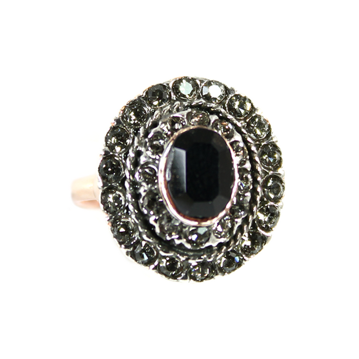 Black & Crystal Ring