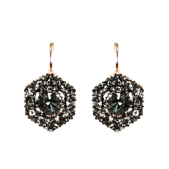 Crystal Hexagon Drop Earrings