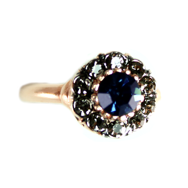 Dark Blue Crystal Circle Ring