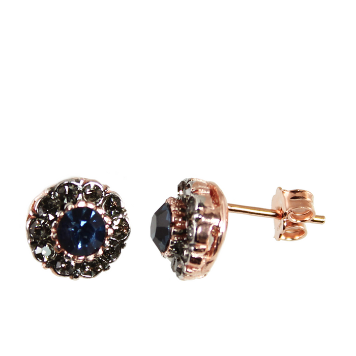 Dark Blue Crystal Stud Earrings