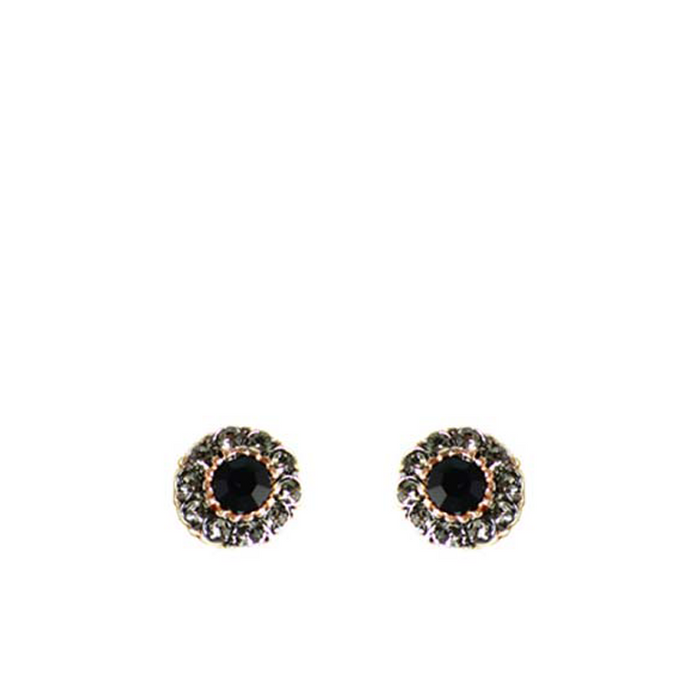 Onyx & Crystal Stud Earrings