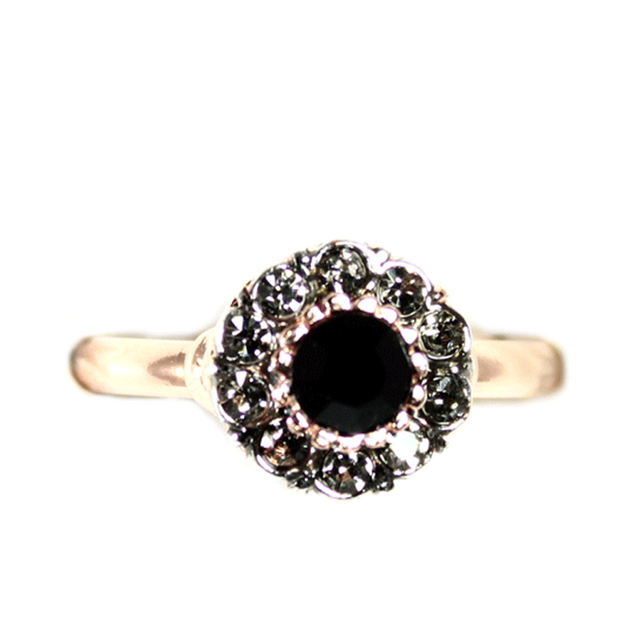 Black & Crystal Circle Ring