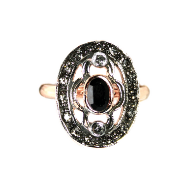 Black & Crystal Oval Ring