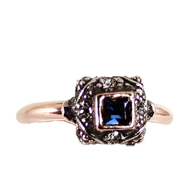 Square Dark Blue Crystal Ring