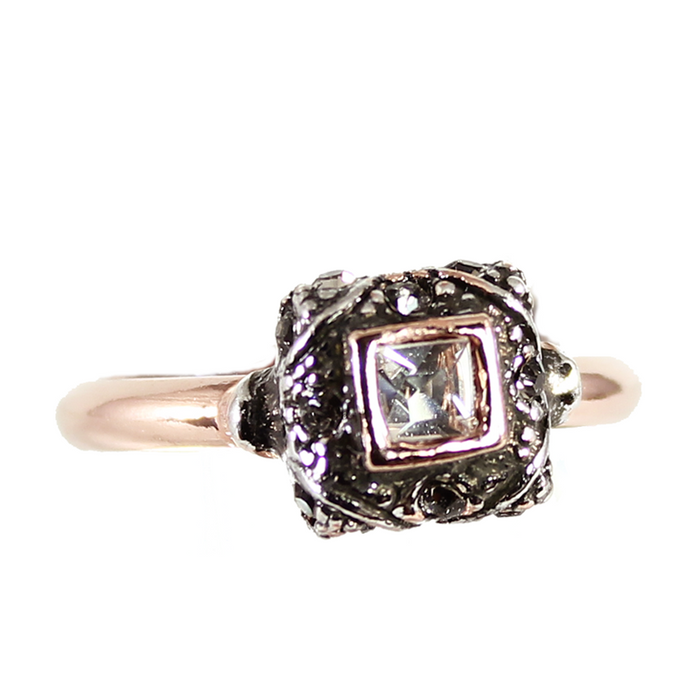Square Bright Crystal Ring