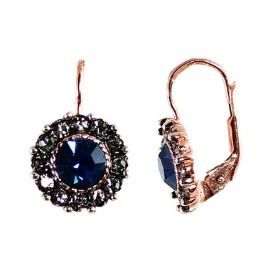 Dark Blue Crystal Round Drop Earrings