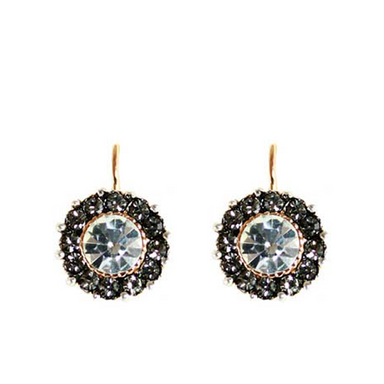 Bright Crystal Round Earrings