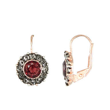 Garnet & Crystal Circle Drop Earrings
