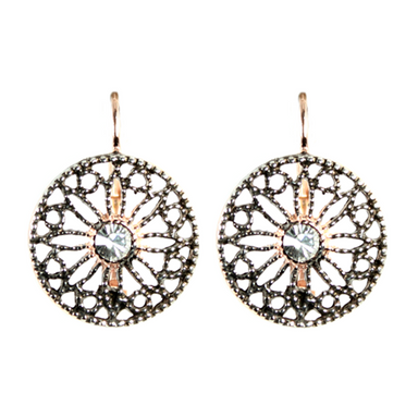 Bright Crystal Filigree Drop Earrings