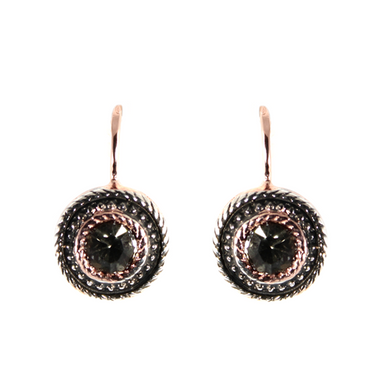 Crystal & Rose Gold Round Drop Earrings