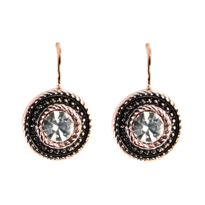 Bright Crystal & Rose Gold Round Drop Earrings