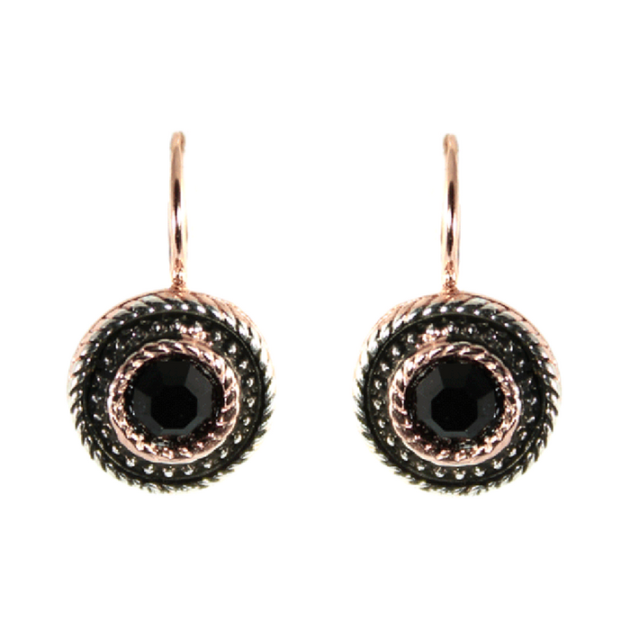 Onyx & Rose Gold Round Drop Earrings