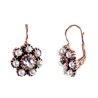 Pearl & Crystal Flower Drop Earrings