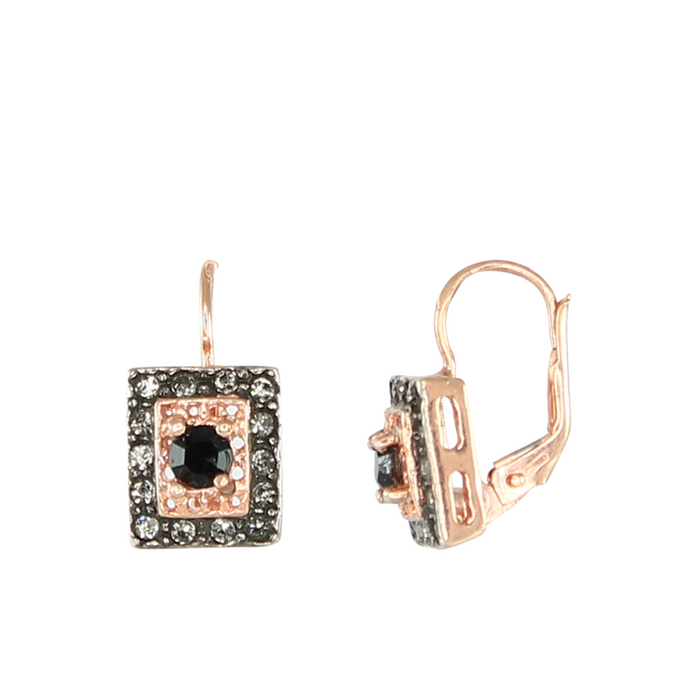 Onyx & Crystal Large Square Earrings