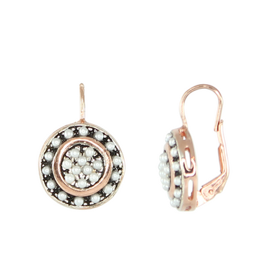 Pearl and Rose Gold Disc Drop Earrings