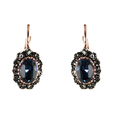Dark Blue Crystal Oval Drop Earrings