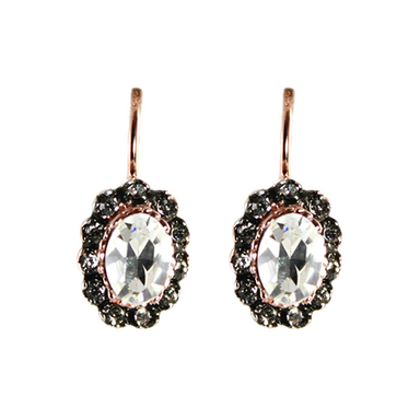 Bright Crystal Oval Drop Earrings