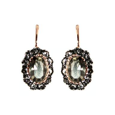 Crystal Oval & Rose Gold Earrings