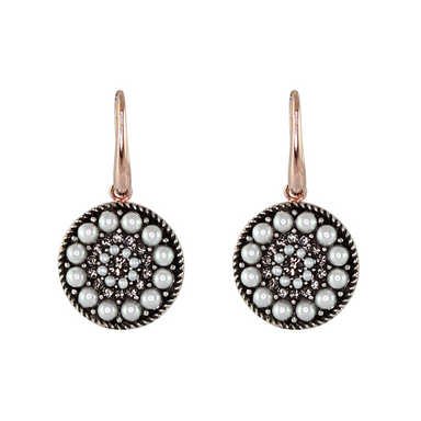 Pearl & Crystal Round Earrings