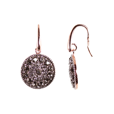 Crystal Round Disc Drop Earrings