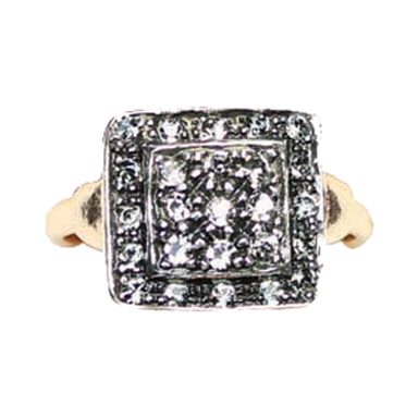 Square Crystal & Rose Gold Ring