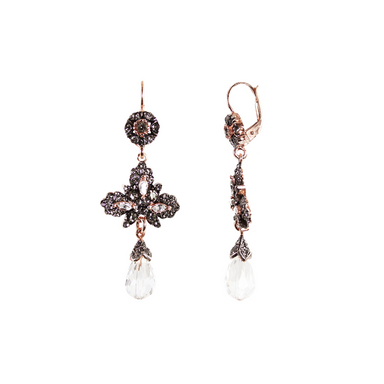 Bright Crystal & Leaf Drop Earrings