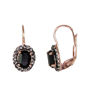 Black & Crystal Oval Earrings