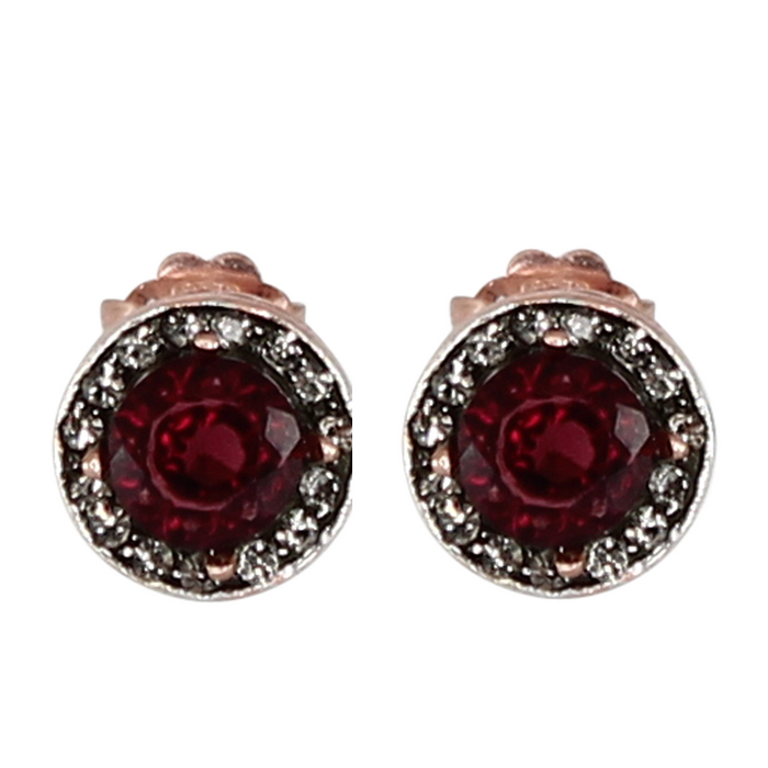 Garnet & Crystal Circle Stud Earrings